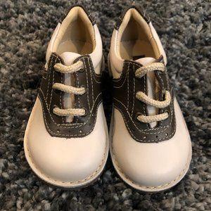 Boys Kid Express Bone and Dark Brown Saddle Shoes